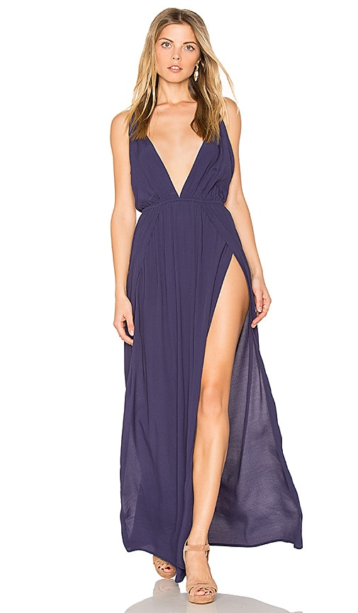 BLQ BASIQ Low Plunge Maxi Dress in Blue