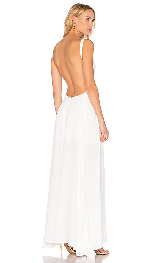 BLQ BASIQ Low Plunge Maxi Dress in White