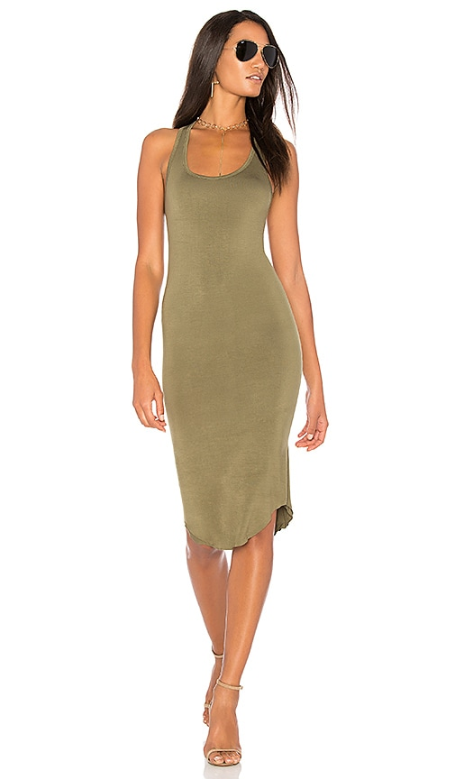 BLQ BASIQ Racer Tank Dress in Olive