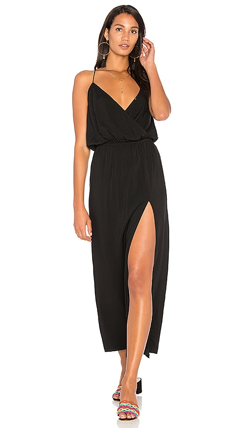 BLQ BASIQ Maxi Dress With Side Slit in Black