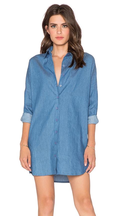 BLQ BASIQ Chambray Shirt Dress in Denim Blue