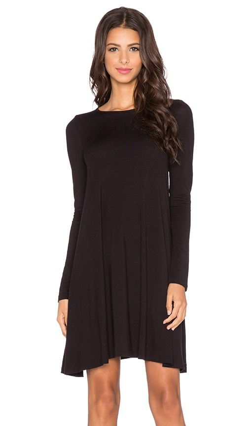BLQ BASIQ Long Sleeve Swing Dress in Black