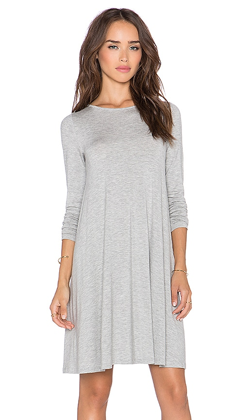 BLQ BASIQ Long Sleeve Swing Dress in Gray