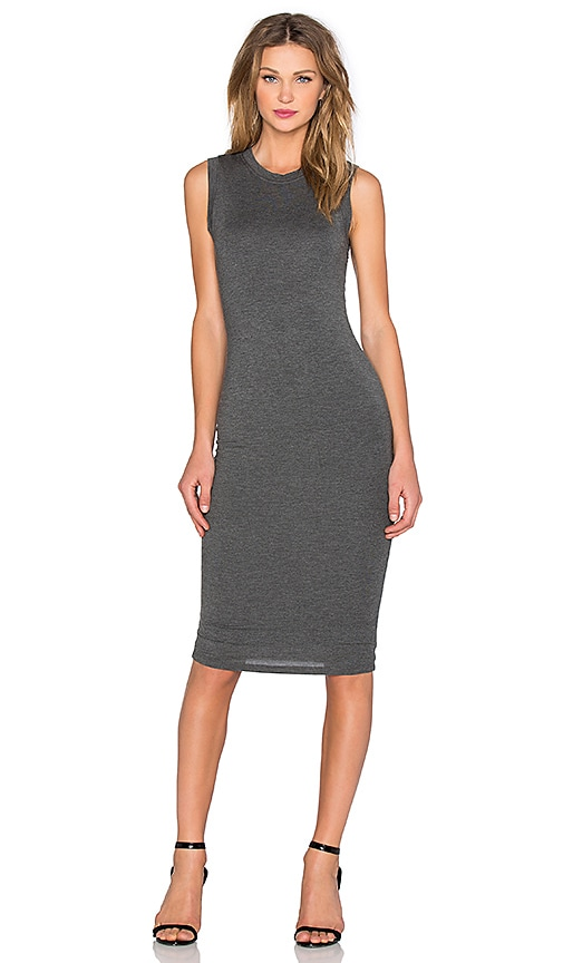 BLQ BASIQ Sleeveless Tank Dress in Charcoal