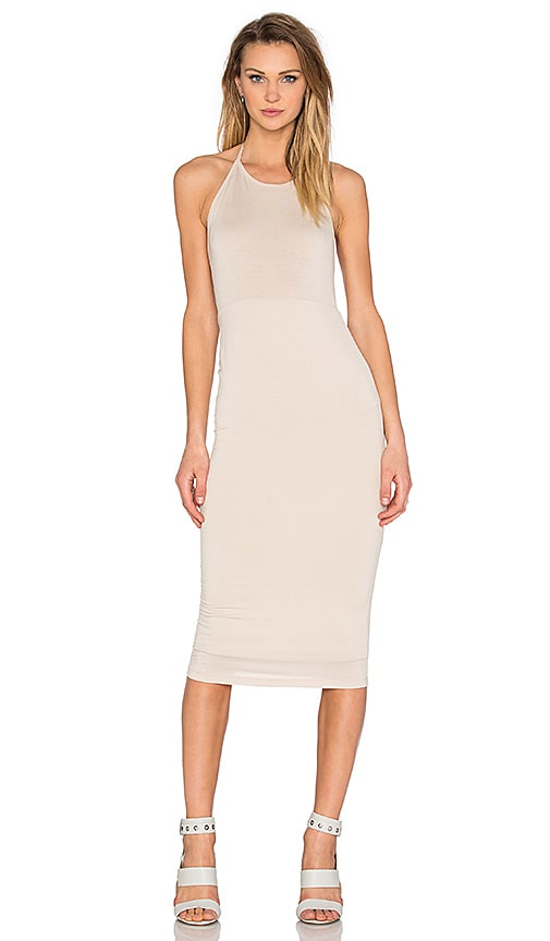 BLQ BASIQ Halter Midi Dress in Beige