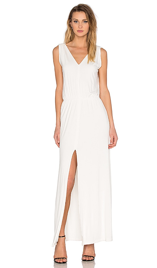 BLQ BASIQ V Neck Slit Maxi Dress in White