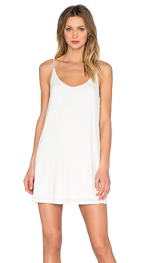 BLQ BASIQ Scoop Back Tank Dress in Ivory