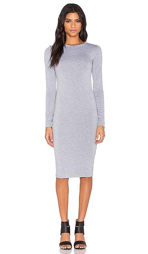 BLQ BASIQ Long Sleeve Midi Dress in Heather Grey