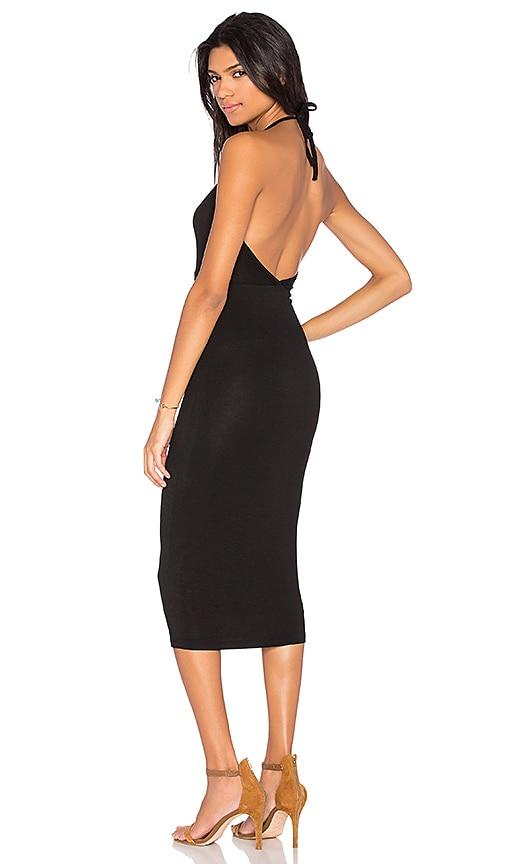 BLQ BASIQ Halter Midi Dress in Black