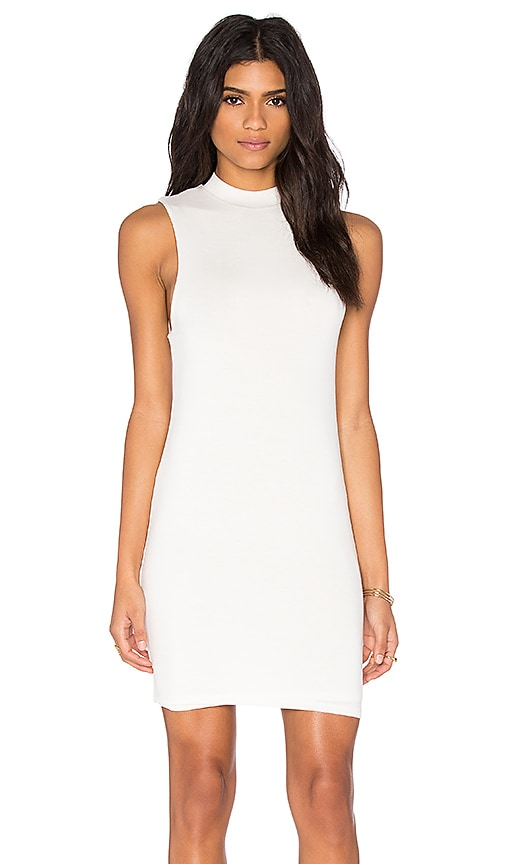 BLQ BASIQ Mock Neck Mini Dress in White