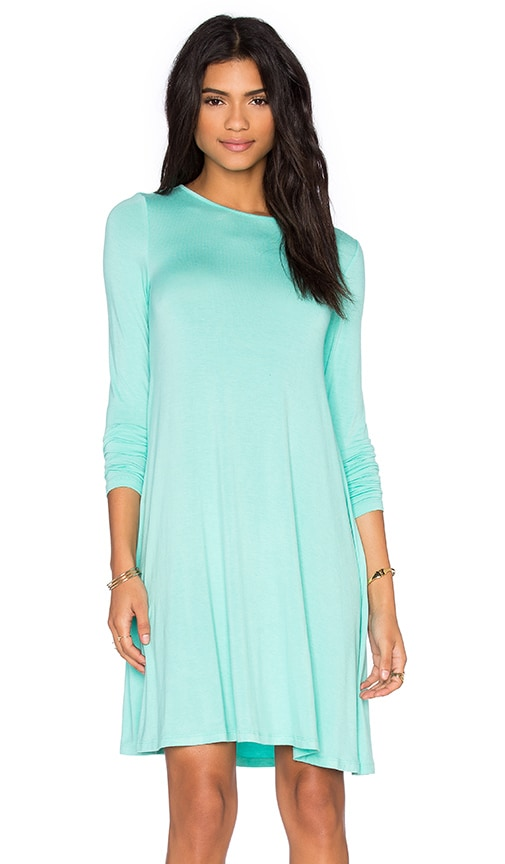 BLQ BASIQ Long Sleeve Swing Dress in Mint