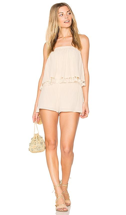 BLQ BASIQ Layered Romper With Tassels in Beige