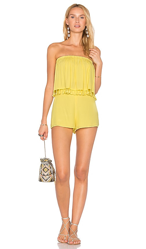 BLQ BASIQ Layered Romper With Tassels in Yellow