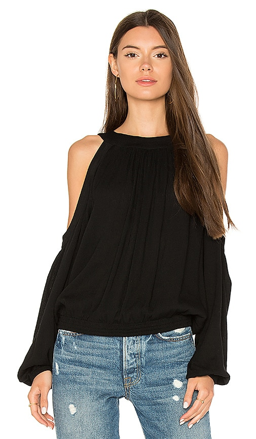 BLQ BASIQ Cold Shoulder Top in Black