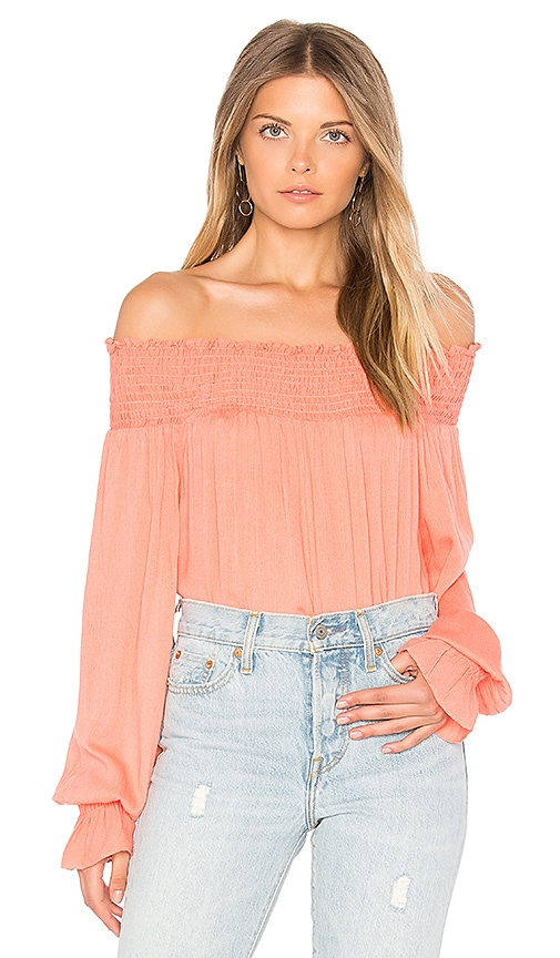 BLQ BASIQ Off Shoulder Long Sleeve Top in Pink