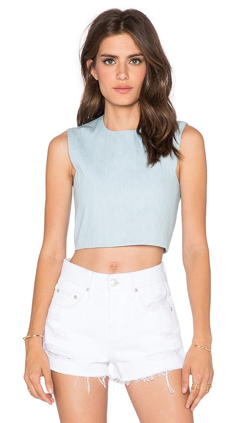 BLQ BASIQ Chambray Straight Crop Top in Light Blue
