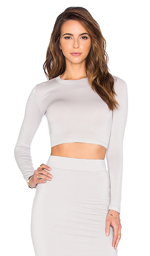 BLQ BASIQ Long Sleeve Crop Top in Light Gray