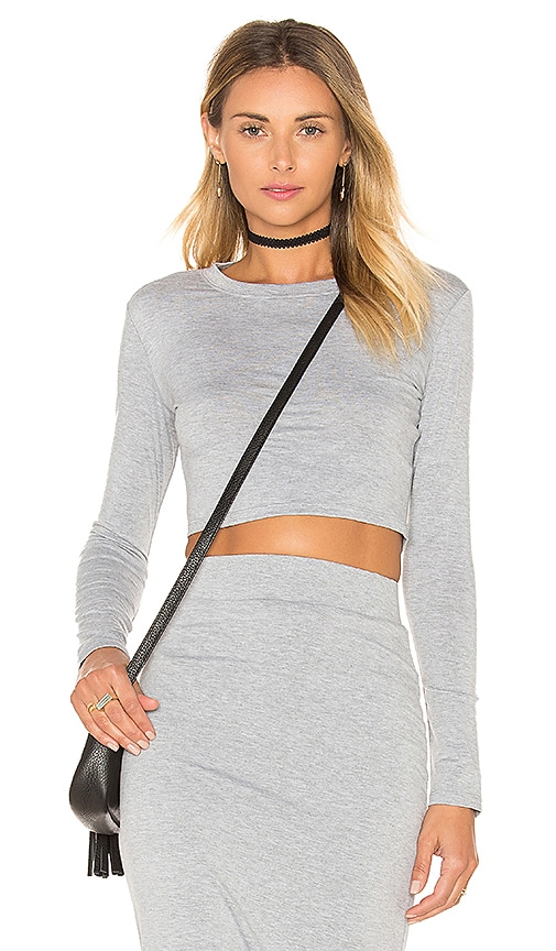 BLQ BASIQ Long Sleeve Crop Top in Heather Grey