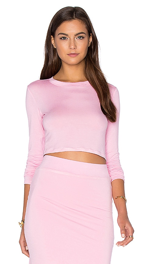 BLQ BASIQ x REVOLVE Long Sleeve Crop Top in Pink