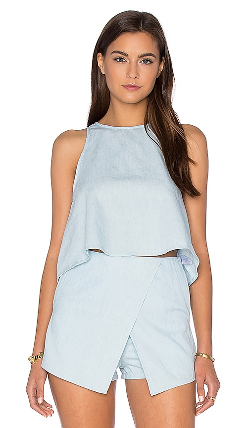 BLQ BASIQ Chambray Tank in Blue