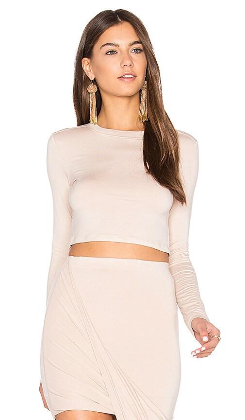 BLQ BASIQ Long Sleeve Crop Top in White
