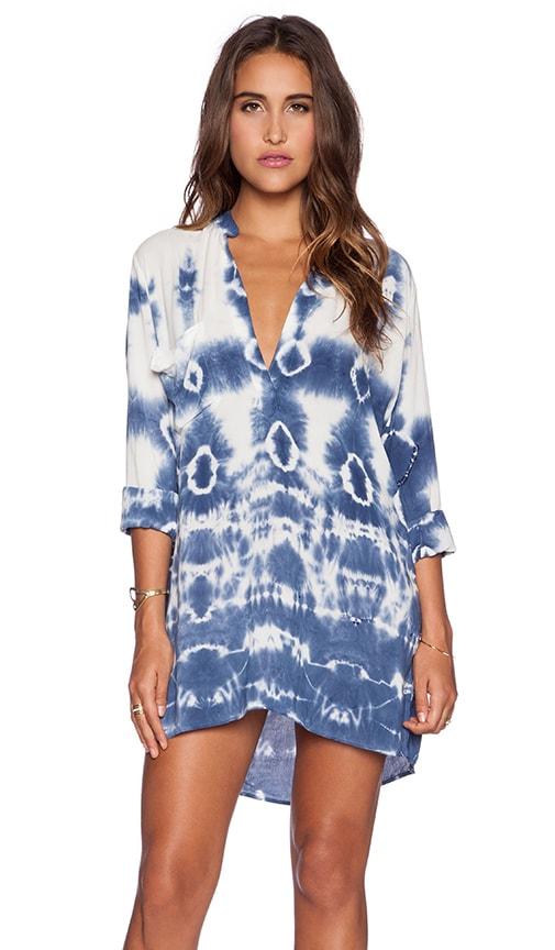 Blue Life Shirt Dress in Ocean Tie Dye