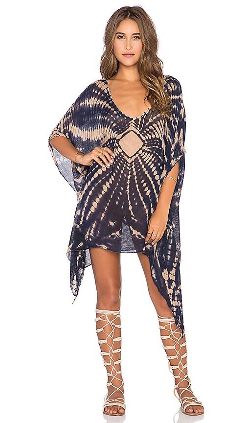 Blue Life V Neck Cape Cool Dress in Blue