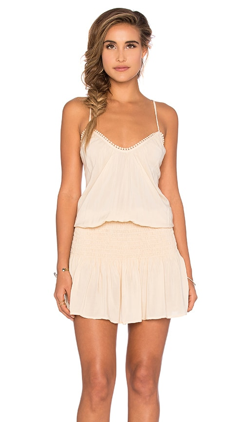 Blue Life Criss Cross Back Halter Dress in Beige