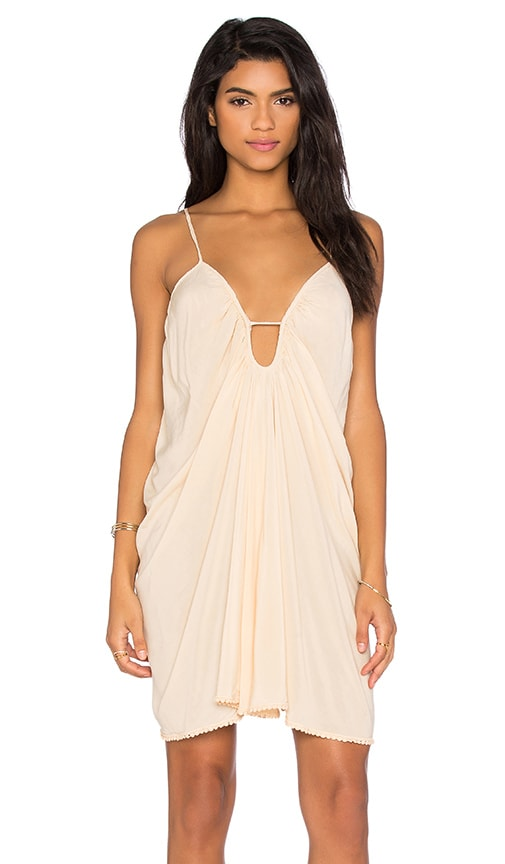 Blue Life Drape Criss Cross Back Dress in Beige