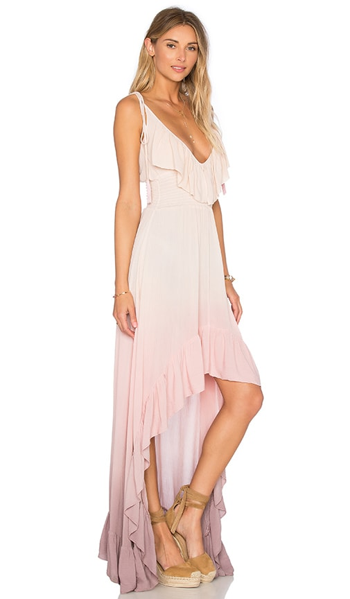 Blue Life Hi Low Ruffle Dress in Mauve