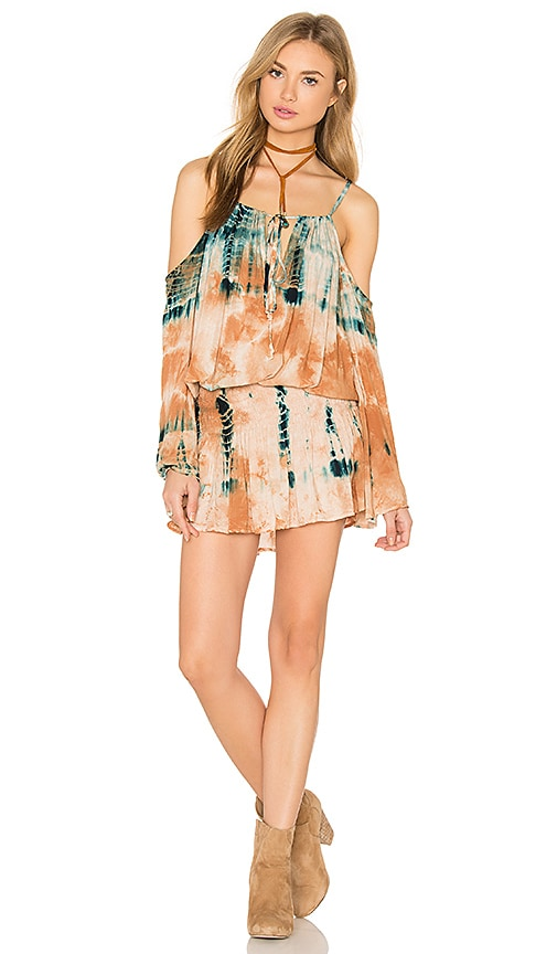 Blue Life Open Shoulder Dress in Desert Citrine