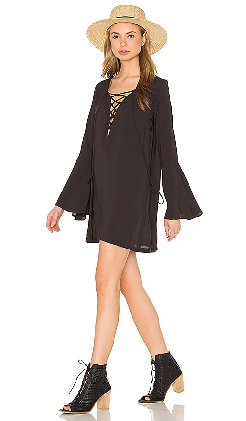 Blue Life Lace Up Tunic Dress in Soft Black