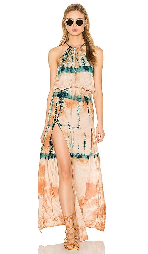 Blue Life Double Slit Halter Dress in Desert Citrine