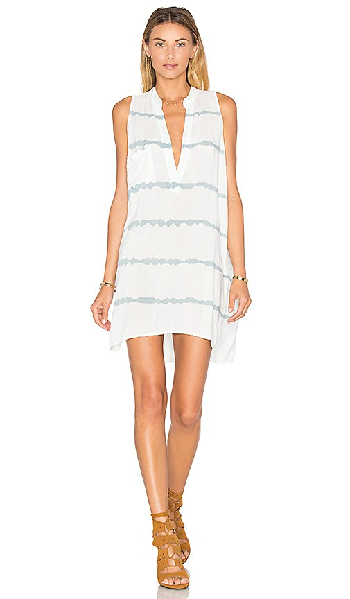 Blue Life Sleeveless Shift Dress in White