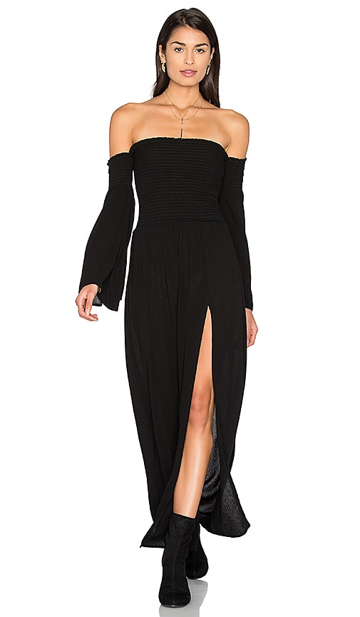 Blue Life Off Shoulder Maxi Dress in Black