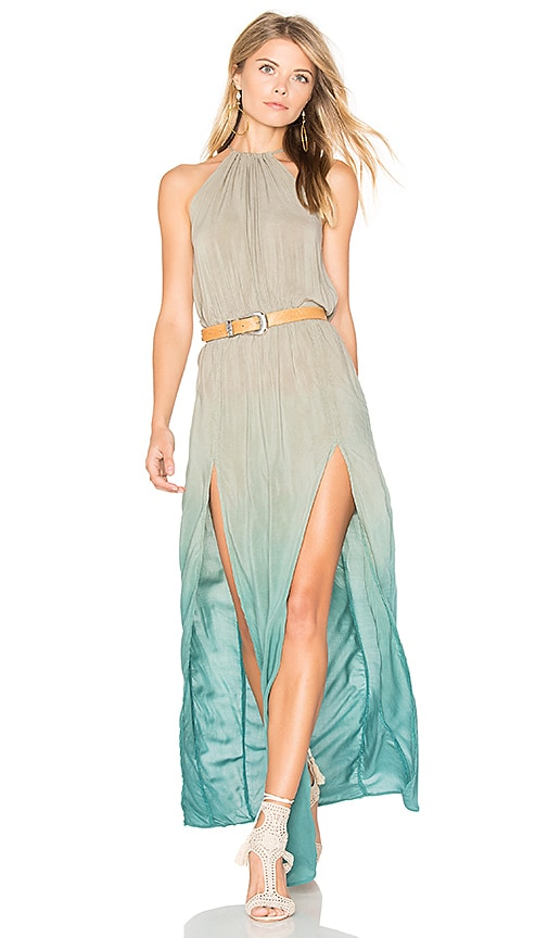 Blue Life Slit Halter Dress in Green