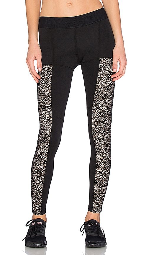 Blue Life Fit Lacey Contrast Legging in Black