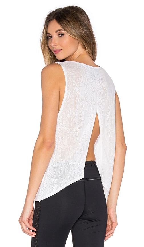 Blue Life Fit Open Back Tank in White