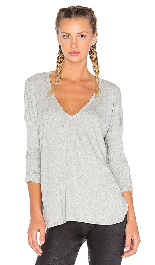Blue Life V Neck Long Sleeve Tee in Gray