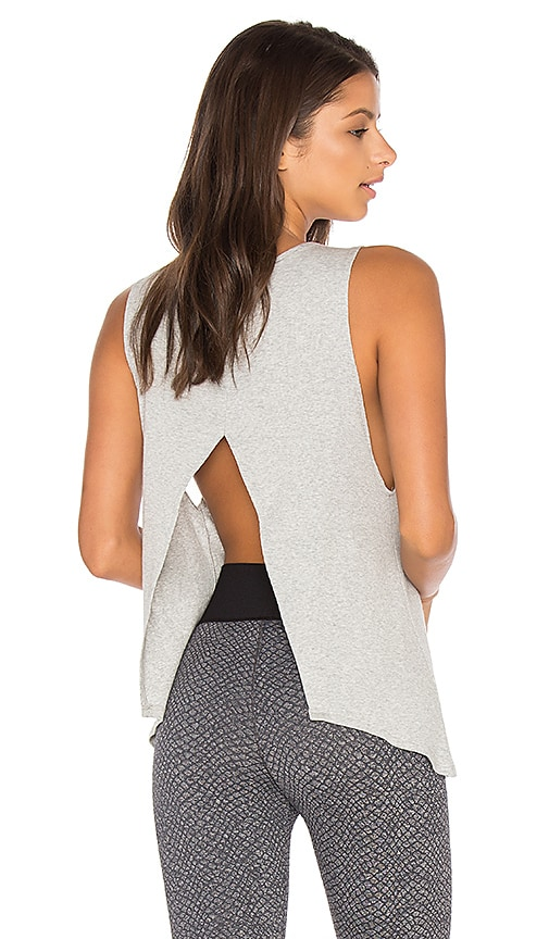 Blue Life Open Back Tank in Grey
