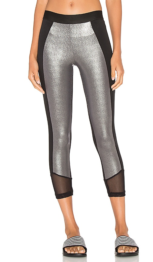 Blue Life Crop Legging in Metallic Silver