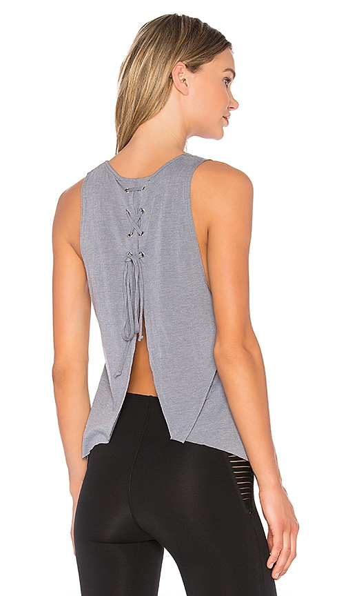 Blue Life Fit Open Back Tank in Gray