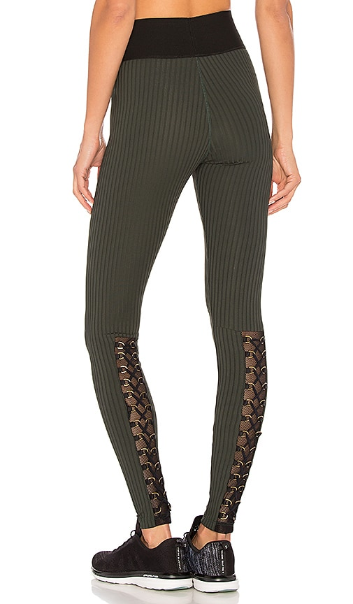 Blue Life Fit Mesh Buckle Legging in Green
