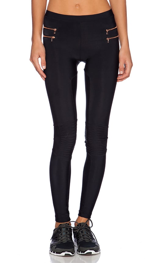 Blue Life Fit Zipper Moto Legging in Black