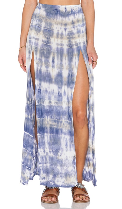 Blue Life 2 Slit Front Skirt in Abalone Tie Dye
