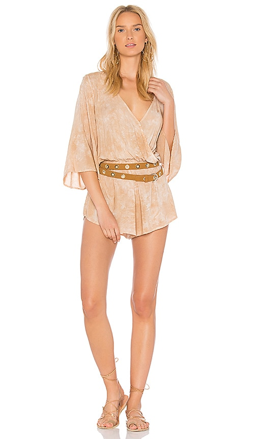 Blue Life Wild And Free Romper in Tan