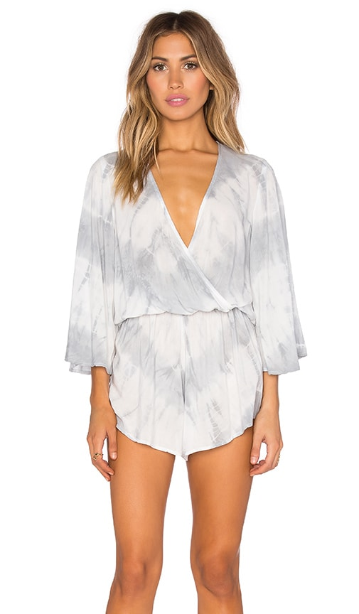 Blue Life Wild & Free Romper in White Feather