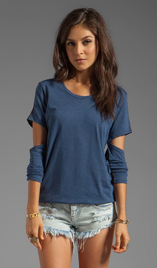 Scoop Neck Cut Out Sleeve Tee