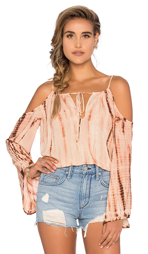 Blue Life Cold Shoulder Top in Brick