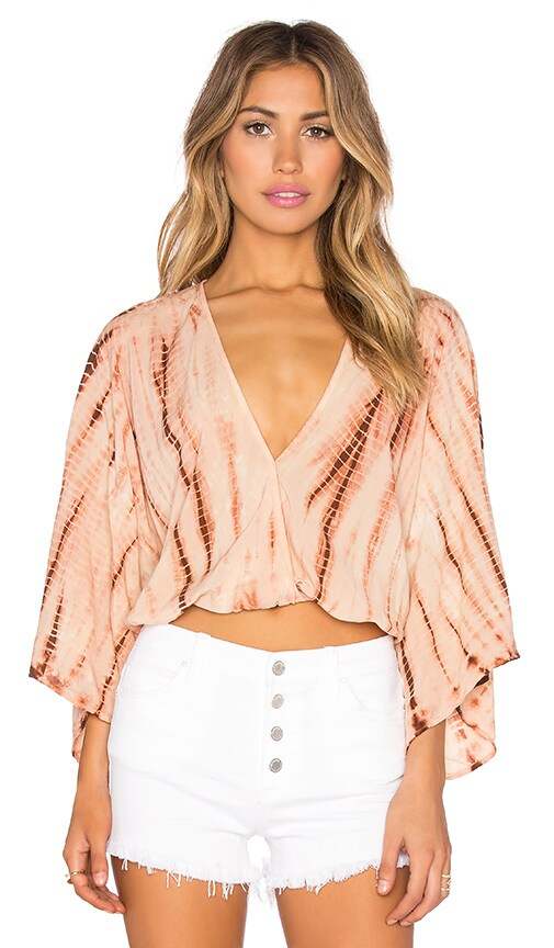 Blue Life Kimono Crop Top in Agave Sunset